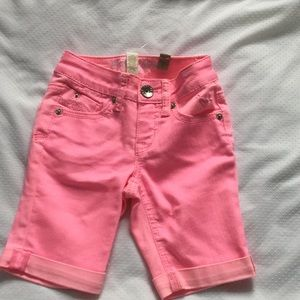 Justice pink slim jeans shorts